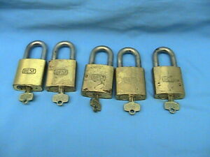 5 Used Best Lock Brass Padlocks 6 Pin Cores With Keys With Steel Shackles