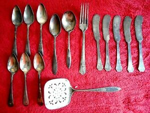 Vintage Silverware Silverplate Mixed Lot Of 15 Pieces