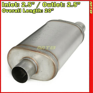 Highflow Straight thru Universal Muffler 2 5in Inlet Dual Offset Outlets 256424