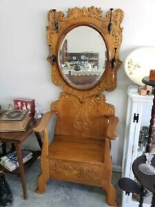 Antique Ornate Oak Hall Tree With Mirror Lift Up Storage Seat