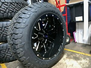 Ion 141 Black Milled 20x12 Wheels 33 Fuel At Tire Package 5x5 5 Dodge Ram 1500