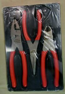 New Snap On 3 Piece Pliers Cutters Set Pl300cf 47acf 96acf 87acf