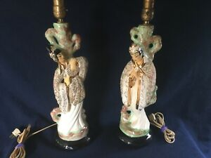 Vintage 40 S 50 S Asian Lamp Set Mid Century Lots Of Detail Texture And Gold