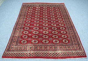Vintage Persian Area Rug 6 X9 Bukhara Rug Hand Knotted 100 Wool Pile Carpet