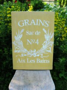 Lg Antique Wood Bread Cutting Board Butter Yellow Milk Paint Grains Free Ship