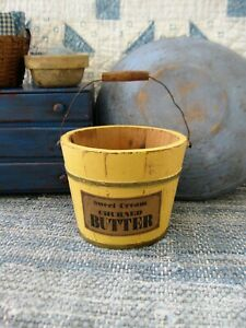 Small Early Antique Wood Bucket Butter Yellow Milk Paint