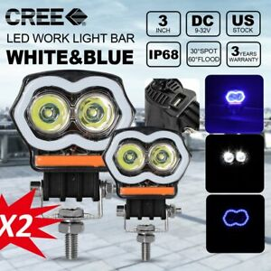 2pcs Off Road 3inch Spot Flash Red Blue Cree Led Light Work Pods 2000lm