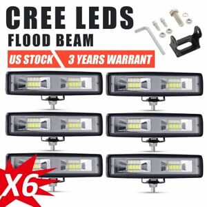 6x 6inch Cree Led Work Light Bar Offroad Driving Lamp 4wd Atv Spot Flood Suv 7