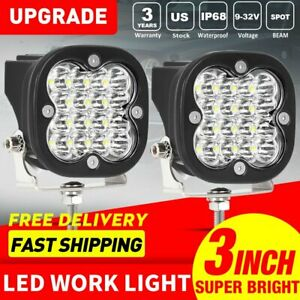 2x 3inch 80w Round Led Work Spot Beam Light Fog Driving Offroad 12v 4 Suv Boat