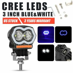 Off Road 2000lm Cree Led Light Work Pod Spot Flash Red Blue Fog Driving Suv Atv
