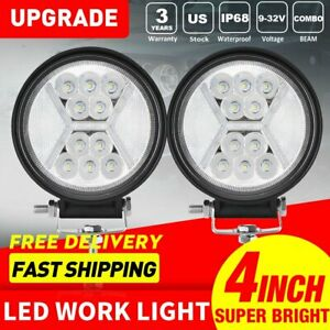 2x 4inch 100w Led Work Lights Combo Beam Drl Offroad Fog Driving Lamp 12v 5
