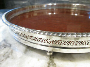 Vintage Silver Plate And Faux Walnut Footed Serving Tray