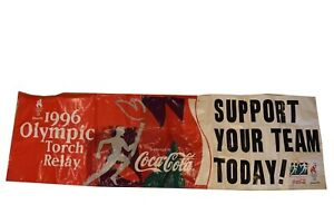 Coca Cola 1996 Atlanta Olympic Torch Replay Vinyl Banner 9 Feet