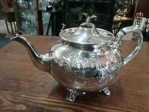Superb Vintage Cooper Brothers Silver Plated Chased Tea Pot