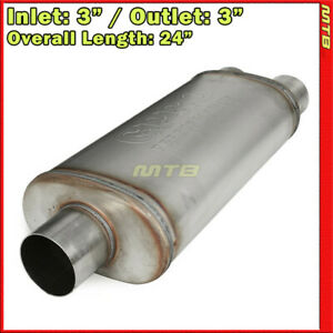 Stainless Steel Straight thru Muffler 3 Inch Inlet Two Outlets Offset 256521