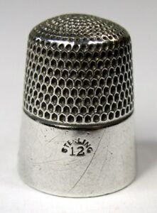 Antique Simons Brothers Sterling Silver Thimble Wide Band E M Monogram