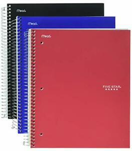 Five Star Spiral Notebooks 3 Subject College Ruled Paper 150 Sheets 11 X 8