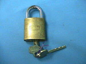 1 Used Best Lock Brass Padlock 6 Pin Core With Keys With Steel Shackle