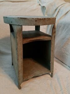 Vintage Industrial Metal Original Foot Stool 15 Tall