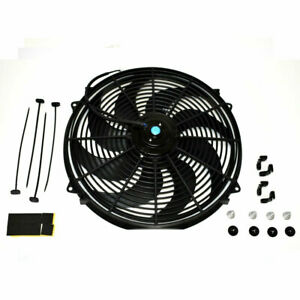 16 Curved Blade Radiator Cooling Fan Car Electric Relay Thermostat Kit