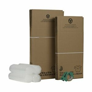 Duck Brand Moving Kit With 12 Boxes 4 Rolls Bubble Wrap 1 Roll Hd Clear Packin