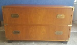 Vintage Baker Furniture 2 Drawer Chest Campaign Mid Century Bachelor S Dresser
