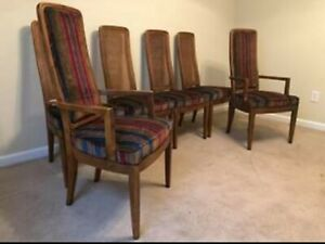 Vintage Henredon Atefacts Dining Chairs Arm Chairs Campaign Style Cane Back