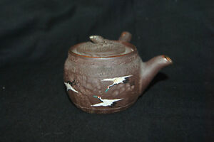 Early Chinese Japanese Clay Yixing Zuni Zisha Teapot With Enamel Birds
