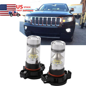 2pc 100w White Led Fog Psx24w Light Bulbs Lamp For Jeep Grand Cherokee 2011 2012