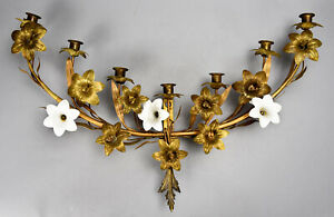 Antique Lily Vine Floral Garland 7 Candle Tole Wall Sconce W Milk Glass Flowers
