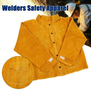 Cowhide Leather Safety Welding Coat Protective Apron Apparel Jacket Yellow Suit