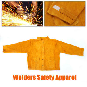 Welder Jacket Protective Coat Cowhide Leather Apparel Protecting The Arms torso