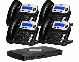 Xblue X16 4 line Small Office Telephone System 4 pack Charcoal