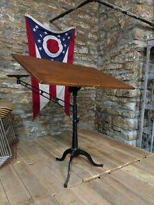 Antique Cast Iron Drafting Table W Pencil Arm Industrial Art Desk Study Office