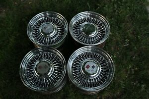 Vintage 15x8 Tru Spoke Tru Ray Wire Wheels Off A Chevrolet Corvette Used Patina