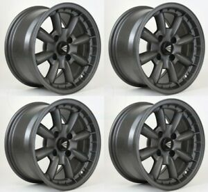 4 New 15 Enkei Compe Wheels 15x7 15x8 4x114 3 25 0 Gunmetal Paint Staggered Rim