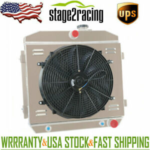 3row Radiator Shroud Fan For 1955 1957 56 Chevy Bel Air Del Ray Nomad 210 150 V8
