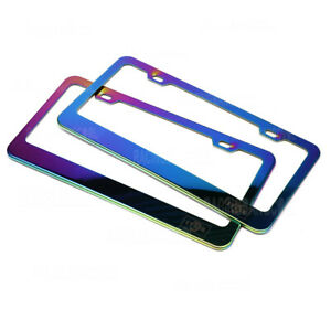 1 Pair Universal Neo Chrome Stainless Steel License Plate Frame Tag Cover Holder