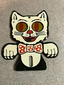 White Cat Moving Eyes Vintage License Plate Topper Felix The Cat Excellent