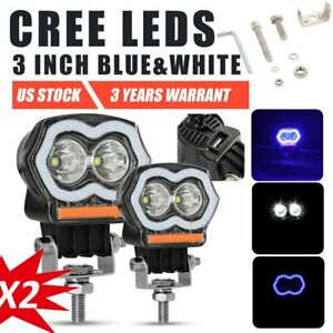 Pair 3 Inch Blue Red White Led Work Light Projector Halo Ring Drl Driving Lamp