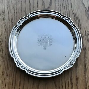 Vintage Shreve Sterling Silver 7 Engraved Tray Plate Coat Of Arms