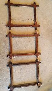 Lot Of 3 Vintage Adirondack Tramp Art Wood Picture Frames Carved Leaves 14 X 11