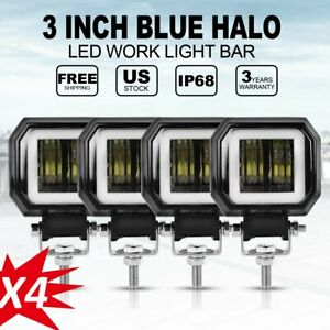 4x 3inch Square 2000lm Spot Blue Led Work Light Driving Lamp Offroad 4wd Ute