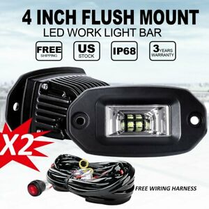 Pair 40w Flood Led Work Light For Car Truck Off road Flush Mount Lights 4 wire
