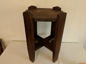 Vintage Arts And Crafts Mission Solid Oak Plant Stand Side End Table Antique