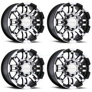 4 New 15 Vision 375 Warrior Wheels 15x6 6x5 5 6x139 7 0 Black Machined Rims