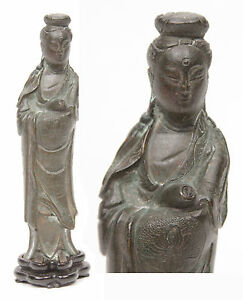 Antique 18th 19th Cent Chinese Bronze Statue Kwan Yin Guanyin Kannon Japanese