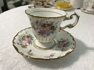 Vintage Coalport Bone China England Teacup Floral And Gold