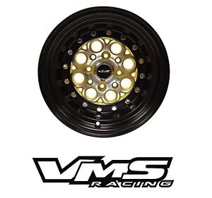 X2 Vms Racing Revolver 13x8 Black Gold Drag Rims Wheels For 88 91 Honda Civic Ef