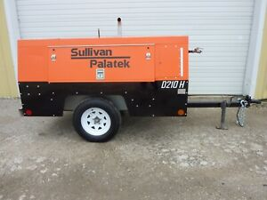 2012 Sullivan D210h Portable Diesel Air Compressor 210 Cfm 150 Psi 1340 Hours